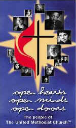 United Methodist Church Open Hearts Open Minds Open Doors graphic